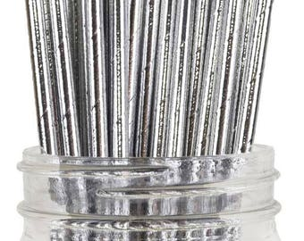 Silver Foil Paper Straws -  Silver Anniversary and Party Decorations