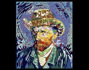Embroidery Vincent Van Gogh painting artist