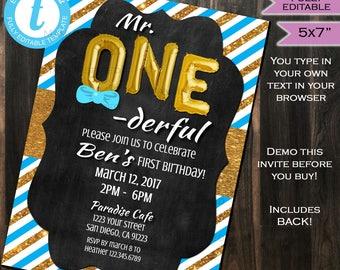 One-derful Birthday Invitation One Derful First Birthday Invite 1st Birthday Chalkboard Template Custom Printable INSTANT Self EDITABLE 5x7