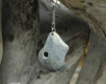 Natural Irish Beach Pebble Hag Stone/Odin Stone Keychain.