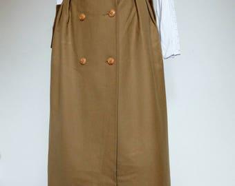 Vintage 1960s high waist long skirt. Vintage khaki skirt. Autumn Skirt Safari style. 60s  button up high waist Skirt.