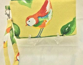 Yellow Bird Painted Bunting Wristlet