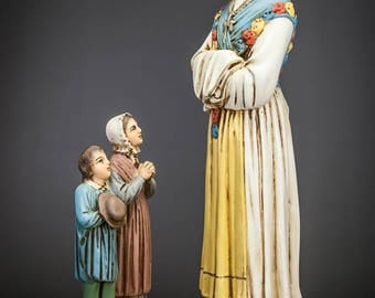 "20"" RARE Antique Our Lady of La Salette with Two Children Polychromed Plaster Statue"
