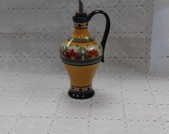 Pier 1 Alexandria Olive Oil Dispenser Floral Pours Hand Painted Earthenware (3)