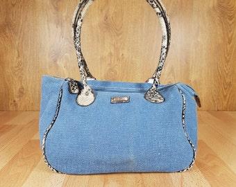 Vintage bag - Blue fabric handbag - Fabric shoulder bag - Fabric bag - Artificial leather bag - Shoulder bag - Blue shoulder bag.