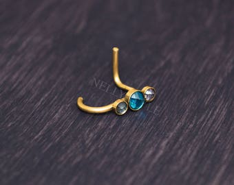 Nose Stud with CZ - surgical steel nose piercing stud