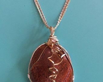Pendant Necklace / Wire Wrapped Pendant / Jasper Pendant / Statement Pendant / Gold Pendant / Silver Necklace / Statement Pendant