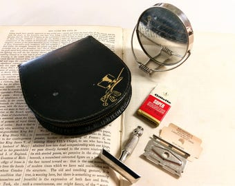 Vintage 1960s Mens Grooming Kit with Gillette Razor and Blades