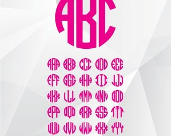 Circle monogram font SVG, Circle font svg,dxf files for Silhouette,Cricut, Print,Design and any more