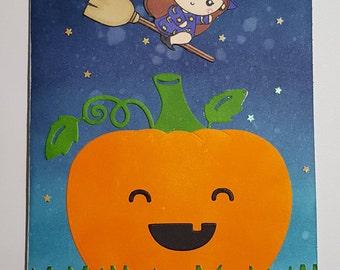 Little witch and pumpkin Halloween