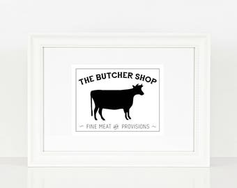 The Butcher Shop Cow Print | Kitchen Print | Kitchen Art | Farm House | Cow | Digital Print | Print | Wall Art