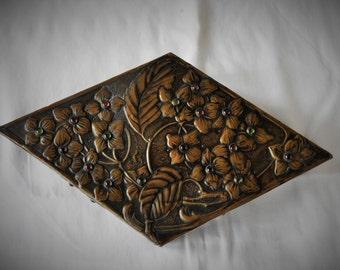 Arts And Crafts Jewelled Brass Box