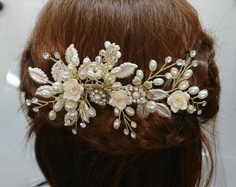 Gold Bridal Hair Comb with Flowers, Leaves, Pearls and Rhinestones