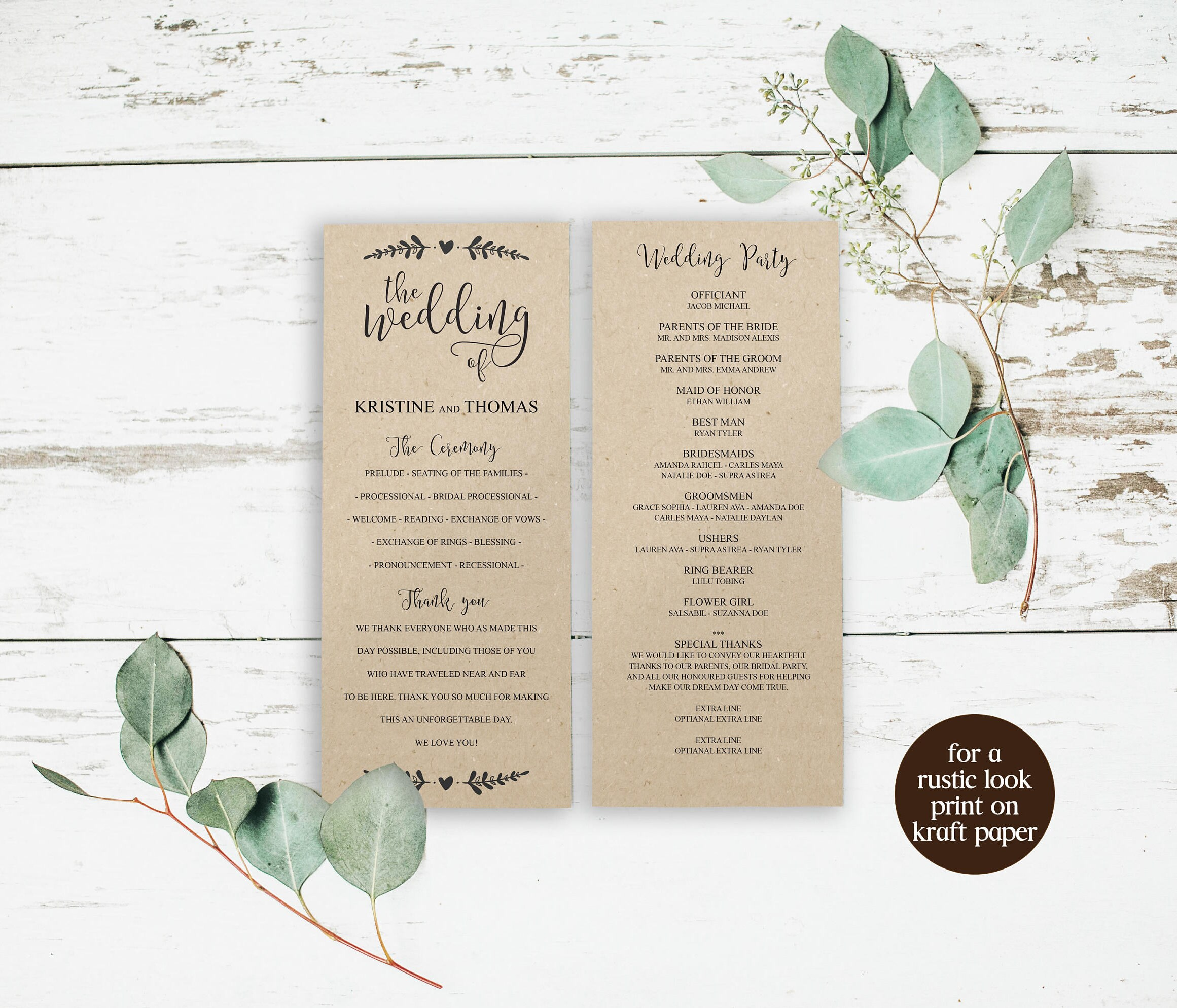 Rustic DIY Wedding Programs Templates, Editable PDF, Editable ...