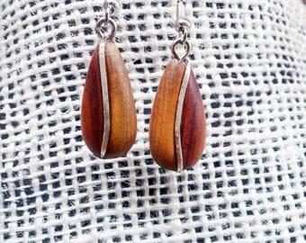 Modern Tear Drop Cedar Wood & Sterling Silver Wire Dangle Earrings