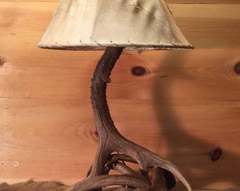 Authentic deer antler lamp