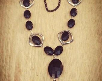 Black and silver Y necklace