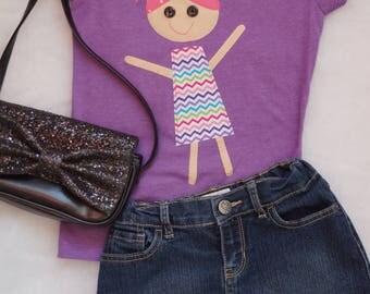 Purple Chevron Little Girl Shirt / Birthday Shirt
