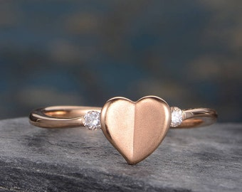 Matte Ring Heart Shaped Rose Gold Promise Ring Diamond Engagement Ring Dainty Half Eternity Delicate Bridal Anniversary Birthday Gift Women