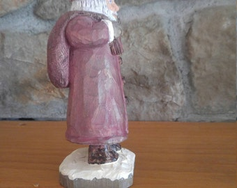 """Hand carved, hand painted santa approx 7"""""""