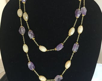 Amethyst and Citrine  Necklace by Dobka