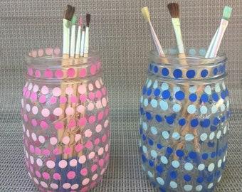 Custom Painted Mason Jar Blue Dots Pink Dots