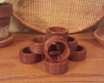 Set of 8 vintage wooden napkin rings.  Rustic wood napkin holders.  Rustic, boho, country, eclectic
