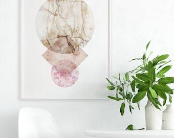 Stone Artwork, Modern Artwork, Pastel Abstract Art Print, Gray Marble Art Print, Minimal Home Decor, Nordic Design, Large Wall Art