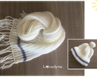 Hat with Pompom and scarf with fringes-soft, warm and soft, Mohair and acrylic white blue stripe, cold winter, Ideal gift for all