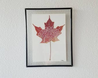 Framed Red Maple Leaf Mandala (Small)
