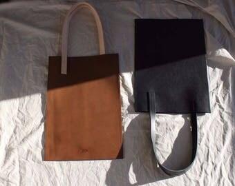 Minimalist Black Leather Tote Bag / Handbag