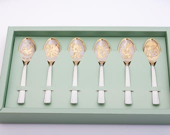 6 Personalised tea spoon set, customised teaspoon, custom gift, unique Gift Idea, coffee, hot chocolate, tea, baby gift, Engraved Tea Spoon