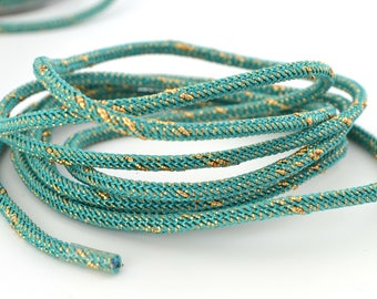 50cm of braided cord 3mm turquoise and gold