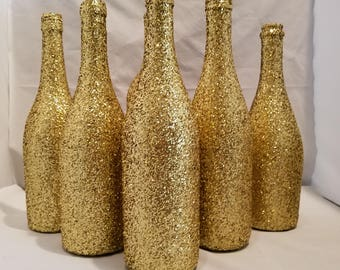 Gold GLITTER Sparkling Wedding Bridal Party Centerpiece Wine Bottles or Home Holiday decor