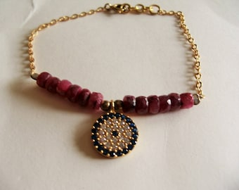 Ruby and gold plated bracelet