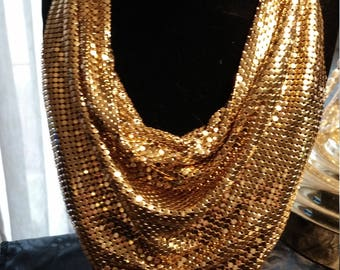 Breathtaking vintage Whiting and Davis Company Goldtone Mesh Scarf/Bib Necklace