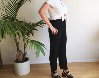 Vintage Black Trousers | 1990s Minimal Trousers | 90s Black High Waisted Loose Tapered Pants