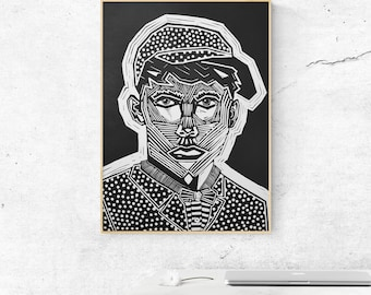 Guy with cap - lino print poster
