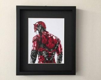 Daredevil, Matt Murdock, Portrait fan art print of ink and gouache painting