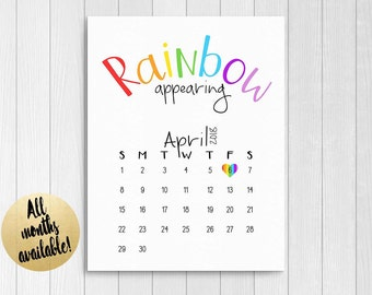Rainbow Baby Announcement Calendar | Rainbow Baby Save The Date Printable | Pregnancy Announcement Calendar | Due Date Reveal Print