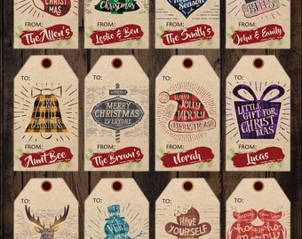 Personalized Christmas Gift Tags Printables, Christmas Present Printable, Flannel Christmas Tags Printable, Holiday Gift Tags Printable