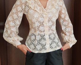 Amazing blouse/Beige blouse/Lace vintage blouse/Long sleeves blouse/Romantic blouse/Blouse for women/50s blouse/Elegant blouse/Trend blouse