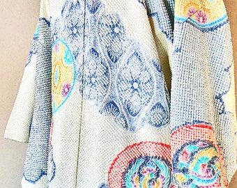 Vintage Japanese Silk Haori Jacket – Silk Kimono Jacket, Shibori, Handmade, Hand Dyed Kimono Fabric – Japanese Wall Décor – Japanese Art –