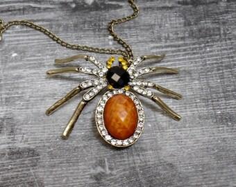 Rhinestone Spider Necklace - Bronze Spider - Brown Spider - Halloween Necklace - Free US Shipping