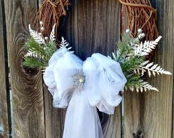 Bridal Shower Wreath, Wedding Wreath, Bridal Wreath, tulle Wreath, Embellished Wreath