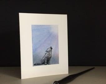 Halloween card: wolf pup howling, happy Howloween, individually handmade, A2
