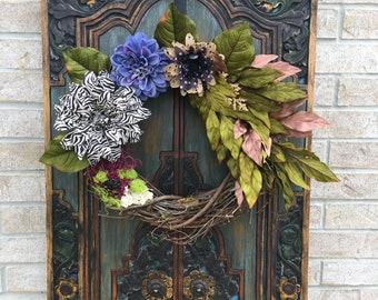 Everyday Front Door Wreath, Indoor and Outdoor Wreath, Flower Wreath