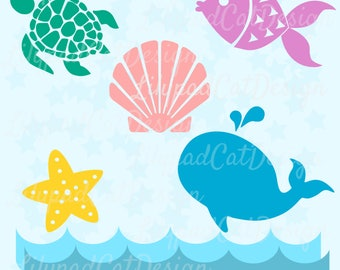 Ocean Bundle SVG, Ocean cut file, ocean dxf, birthday svg, turtle svg, whale svg, starfish svg, sea shell svg, sea svg, ocean birthday party