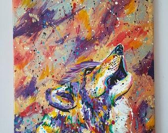 "Midnight Wolf Original Acrylic Painting 13.5 x 19.5"""