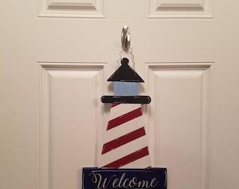 """Lighthouse """"Welcome"""" Handmade Door Hanger"""